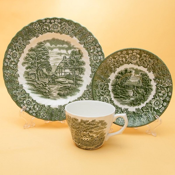 Чайная пара+Тарелка (Тройка) «Memory Lane (Green)» Фарфор BRITISH ANCHOR, Англия - 60 гг.
