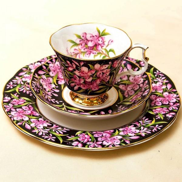 Чайная пара+Тарелка (Тройка) «Иван-Чай» Фарфор ROYAL ALBERT, Англия -1975 год.