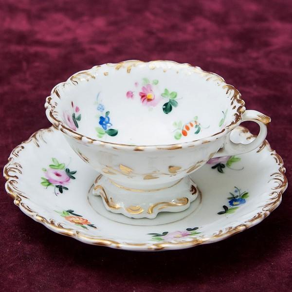 Большая Редкость!!! Антикварная Фарфоровая Чайная пара, Германия - конец ХIX века.