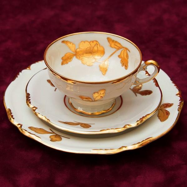 Коллекционная Чайная пара+Тарелка (Тройка) «Золотая роза» Фарфор Waldershof, Германия -50 гг.