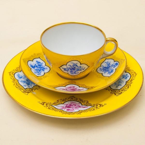Антикварная Чайная пара+Тарелка (Тройка) Фарфор Ambrosius Lamm, Дрезден, Германия -1887-1915 год.