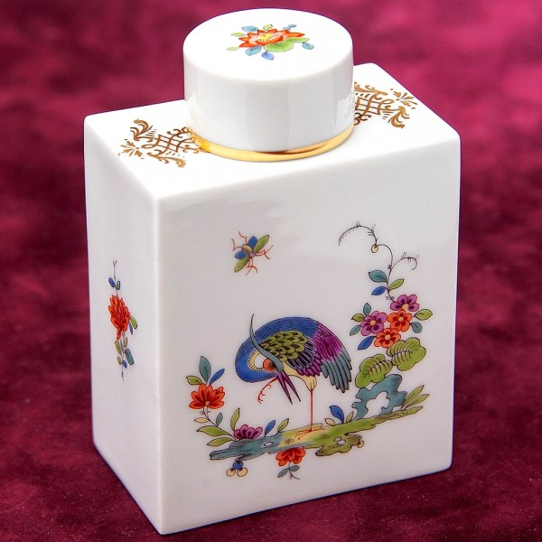 Фарфоровая Чайница - Баночка с крышкой «Цапля», MEISSEN Германия 80 -е годы ХХ века.