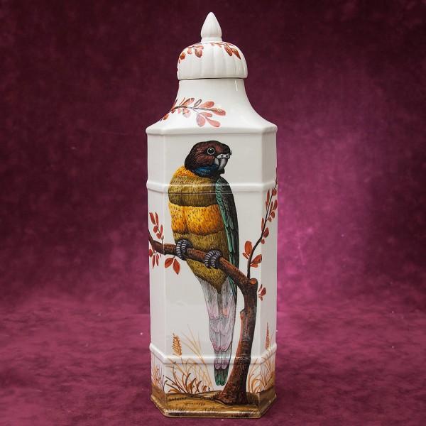 Винтажная Фаянсовая Банка «Попугай на ветке» для сыпучих продуктов или чая, Португалия.