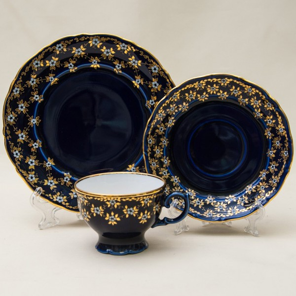 Коллекционная Чайная пара+Тарелка (Тройка) «Цветочные Узоры» Фарфор, Кобальт, LICHTE Германия.