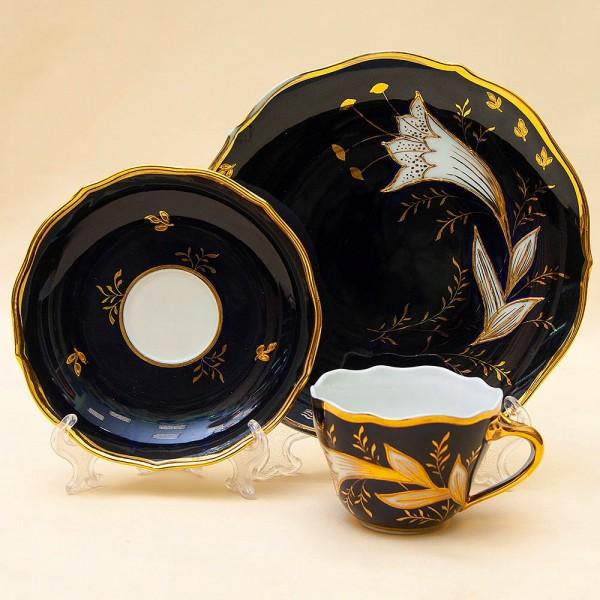 Коллекционная Чайная пара+Тарелка (Тройка) «ЛИЛИЯ» Фарфор, Кобальт, LICHTE Германия.