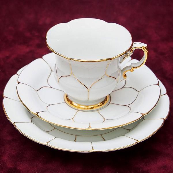 Чайная пара+Тарелка (Тройка) «Белое Золото» Фарфор MEISSEN / МЕЙСЕН Германия -70гг.