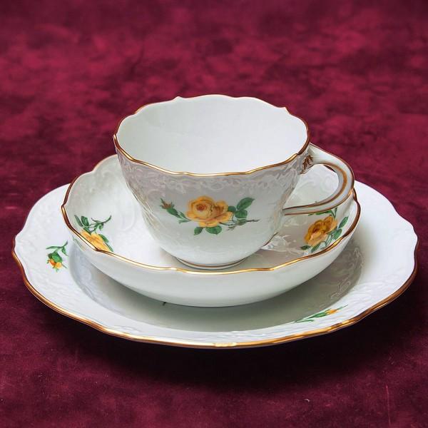 Коллекционая Чайная пара+Тарелка (Тройка) «Желтая Роза» Фарфор MEISSEN / МЕЙСЕН Германия.