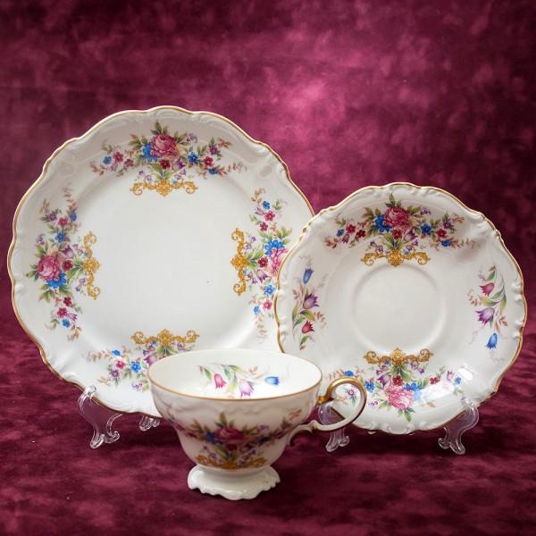 Коллекционная Чайная пара+Тарелка (Тройка) «POMPADOUR» Фарфор РОЗЕНТАЛЬ ROSENTHAL.
