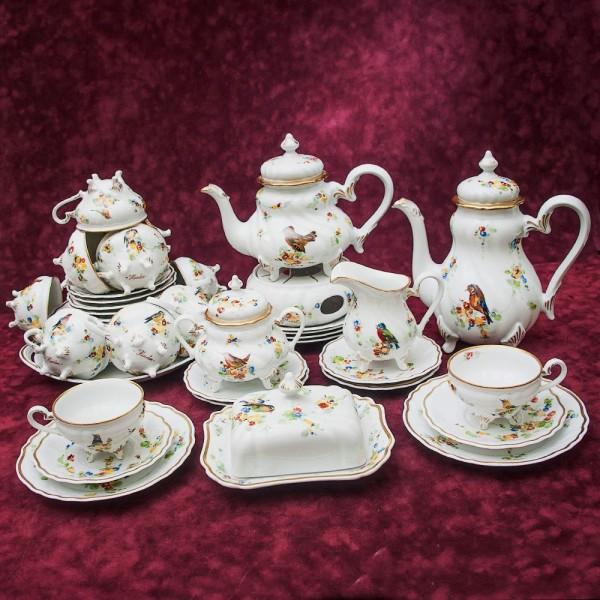 Чайный - Кофейный Сервиз «ПТИЦЫ» на 12-ть персон, 43 предмета Фарфор Weimar Porzellan Германия.
