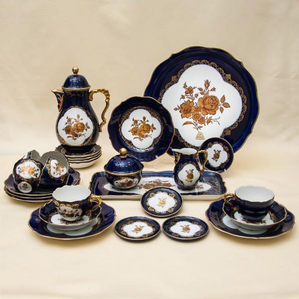 Кобальтовый Чайный сервиз «Золотой Букет» на 6-ть персон Фарфор LINDNER Kups Bavaria Германия 60гг.