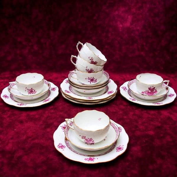 Чайный набор APPONYI PURPUR на 6 персон, 18 предметов. Фарфор HEREND, Венгрия.
