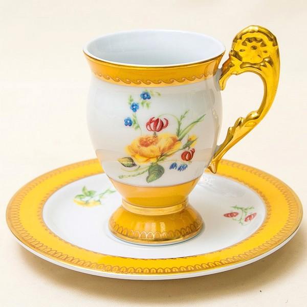 Классическая Чайная или Шоколадная Пара «Желтая Роза», Фарфор  Австрия конец ХХ века..