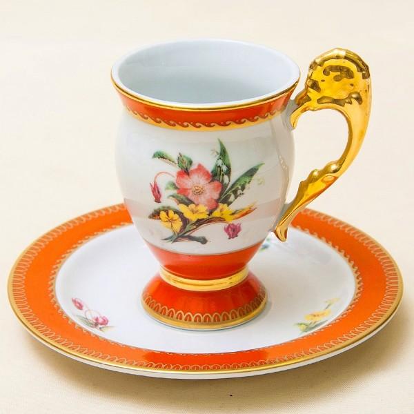 Классическая Чайная или Шоколадная Пара «Букет в оранжевых тонах», Фарфор  Австрия конец ХХ века..