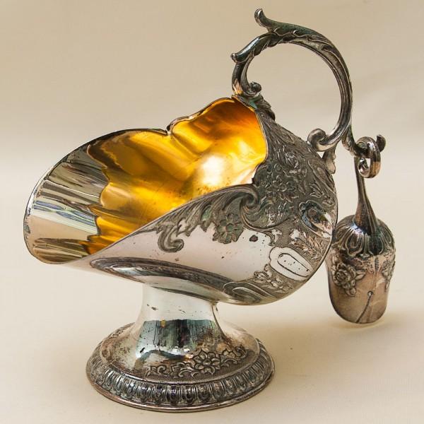 Винтажная Металлическая Сахарница с совочком Англия Silverplated середина ХХ века