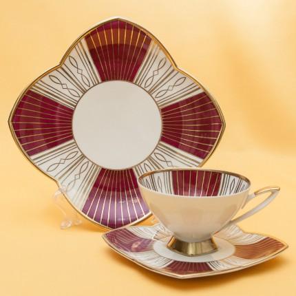 Коллекционная Чайная пара+Тарелка (Тройка) Германия - Фарфор - ALKA KUNST/KAISER - 50-е гг.