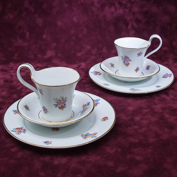 Чайный фарфоровый набор «Тет-а-Тет» - «ЛЕТО» Furstenberg, Германия 50 -егоды ХХ века.