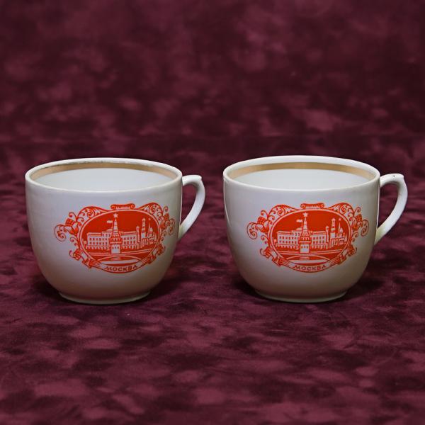 Две чашки «Красная Москва» Фарфор СССР Вербилки 1970-80 гг.