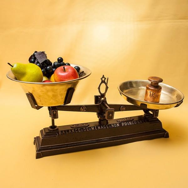 Винтажные Кухонные весы с чашками FОRCE на 10кг. Франция начало ХХ века!
