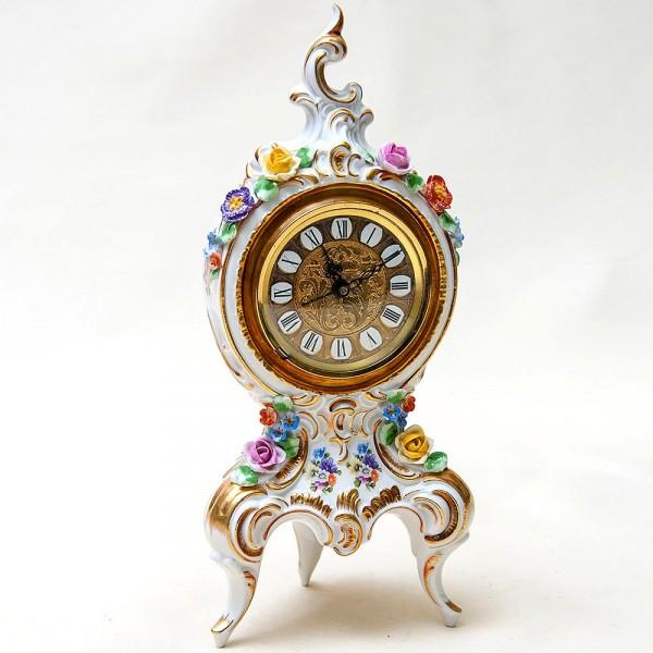 Фарфоровые Механические Часы в стиле Рококо, SANDIZELL, Германия 60-е годы ХХ века.