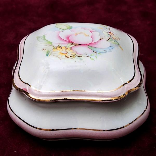 Квадратная Фарфоровая Шкатулка «Цветочная Нежность Лимож Limoges Франция.
