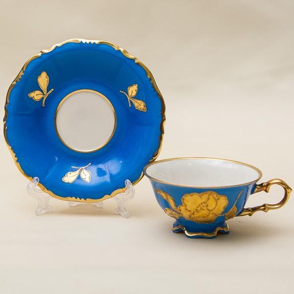 Коллекционная Кофейная Пара «Золотая роза на голубом» Фарфор Waldershof, Германия, 50 -е годы ХХ века.