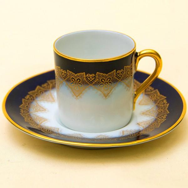 Антикварная Коллекционная Кофейная пара «Золотое кружево», Фарфор Fraureuth, Германия 1920 -1926 гг.