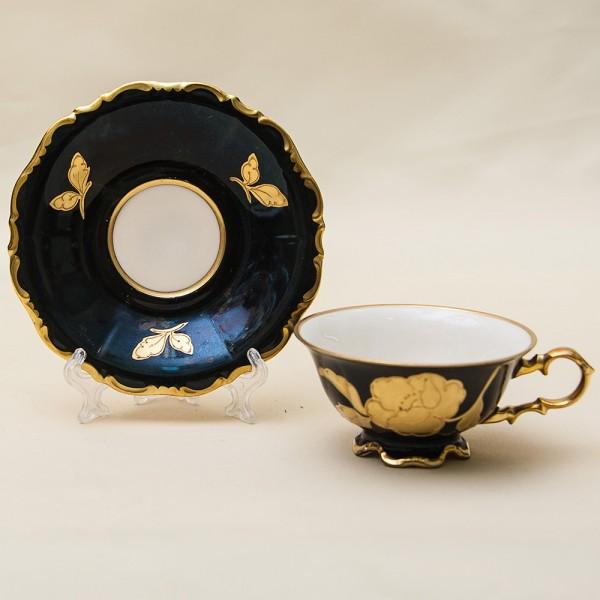 Коллекционная Кофейная Пара «Золотая роза» Фарфор Waldershof, Германия, 50 -е годы ХХ века.