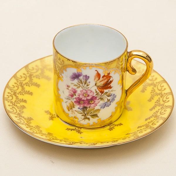 Коллекционная Кофейная Пара мануфактура Carl Knoll, Богемия 1883-1906 годы.