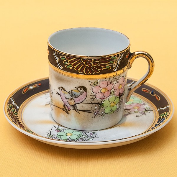 Коллекционная Кофейная Пара «Весенние Птички» Фарфор Мориаж Satsuma Япония.