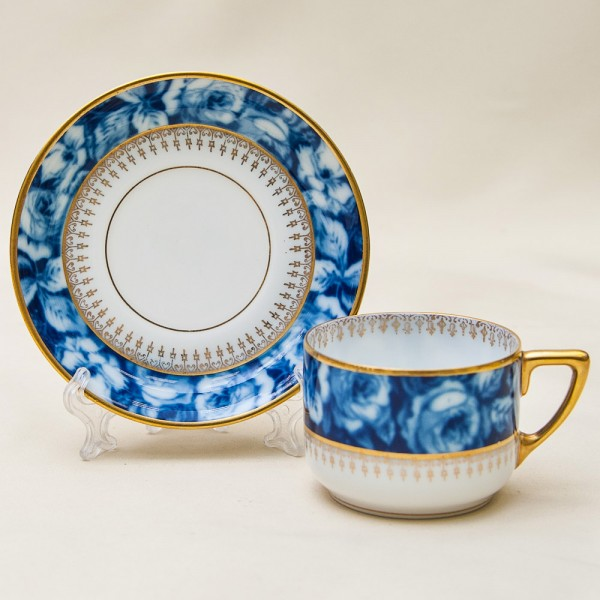 Коллекционная кофейная пара «Bleu Royal», Фарфор, Розенталь Rosenthal, Германия, 20 -е годы ХХ века.