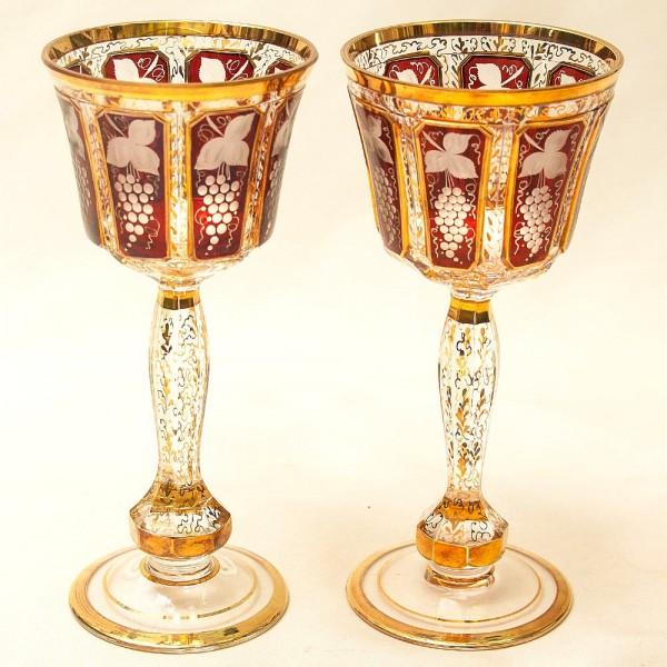 «Рубиновый Виноград» - Пара Бокалов для Вина, Хрусталь ERNST WITTIG, Германия середина ХХ века.