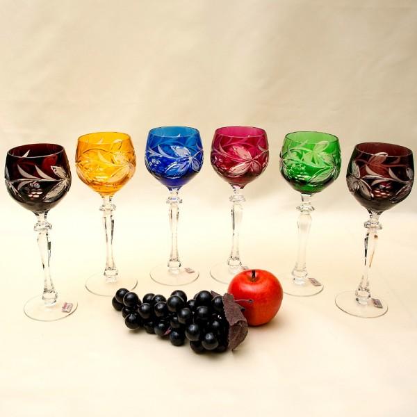 Шесть Бокалов «Виноградная Лоза» Хрусталя JOSKA BODENMAIS Германия, 70 -е годы ХХ века.