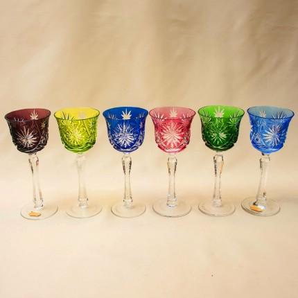 Шесть Бокалов для вина из Цветного Хрусталя серия «Der große Vivat», NACHTMANN Германия, 70 -е годы.