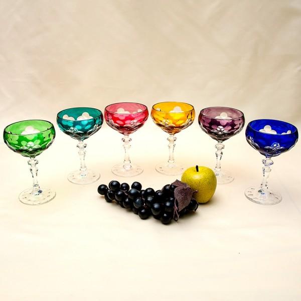Фужеры для Шампанского из Цветного Хрусталя JOSKA BODENMAIS Германия, 60-е гг.