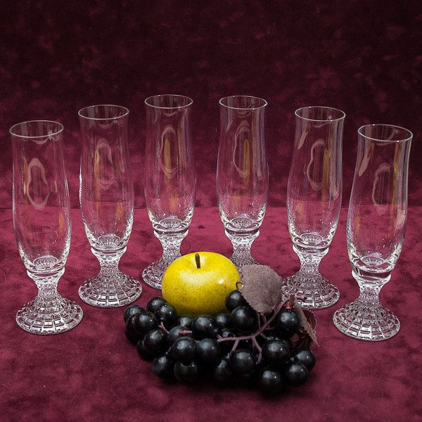 Набор из 6-ти Бокалов «Flute» для Шампанского, Хрусталь BEYER Германия конец 60-х гг.