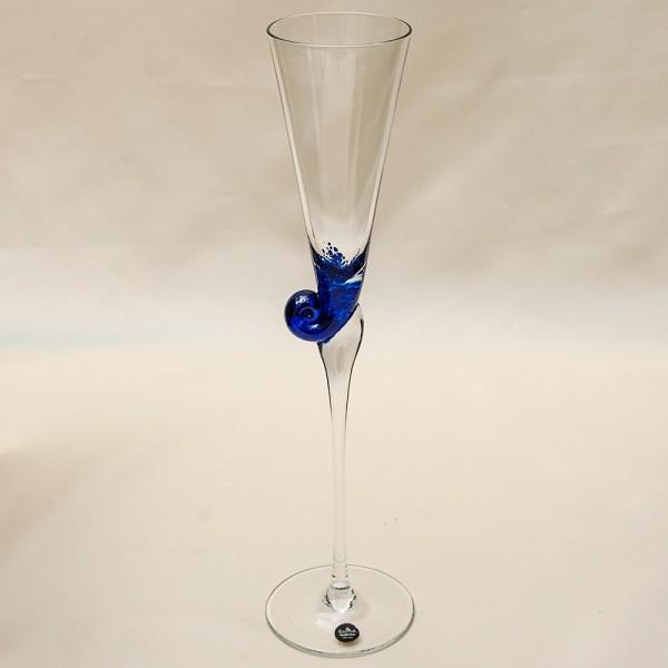 Коллекционный Авторский Стеклянный Фужер для Шампанского - «BLUE» Rosenthal Германия.