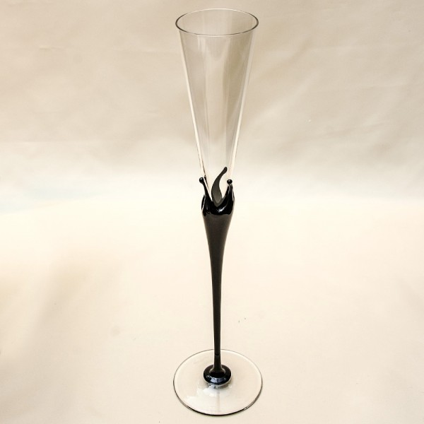 Коллекционный Авторский Стеклянный Фужер для Шампанского - «ЧЕРНАЯ КОРОНА» Rosenthal Германия.