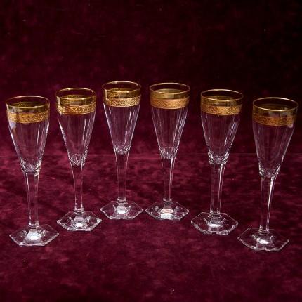 Набор 6-ть Хрустальных Бокалов для Шампанского, серия «Copenhagen», MOSER - МОЗЕР Чехия.