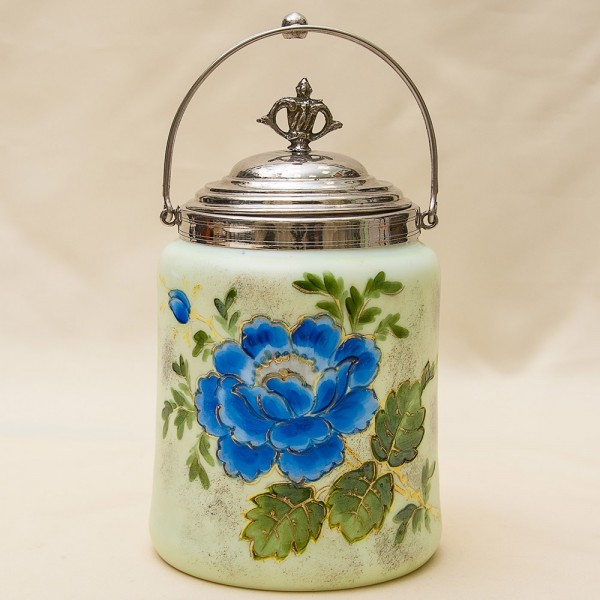 «ЦВЕТЕНИЕ» - Бисквитница - Сахарница - Баночка с крышкой, Стекло Англия 50-е годы ХХ века.