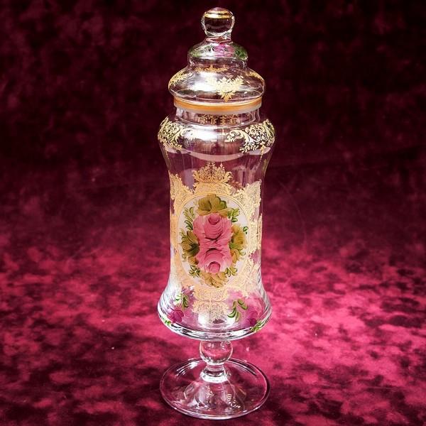 «Чайные Розы» Стеклянный Вазон - Бисквитница - Баночка с крышкой, Франция 30-е годы ХХ века.