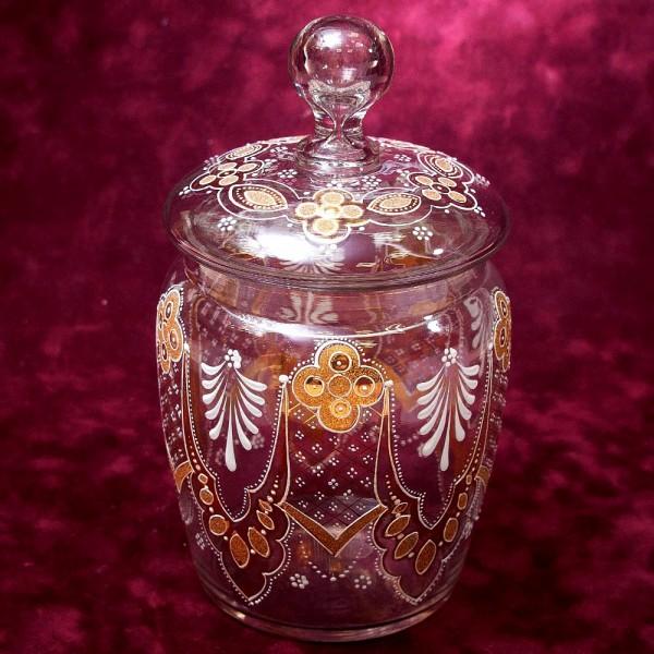 «Золотой узор» - Бисквитница - Сахарница - Баночка с крышкой, Стекло Англия 30-е годы ХХ века.
