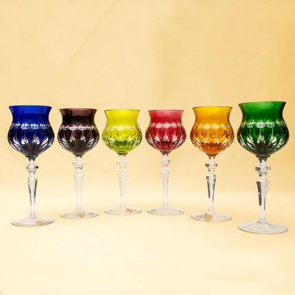 Шесть Бокалов из Цветного Хрусталя «МЕРИЛИН», NACHTMANN Германия, 60 -е годы ХХ века.