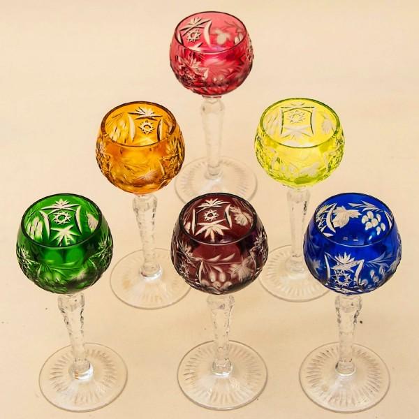 Набор 6-ть Рюмок из Цветного Хрусталя «Виноград», NACHTMANN Германия, 60 -е годы ХХ века