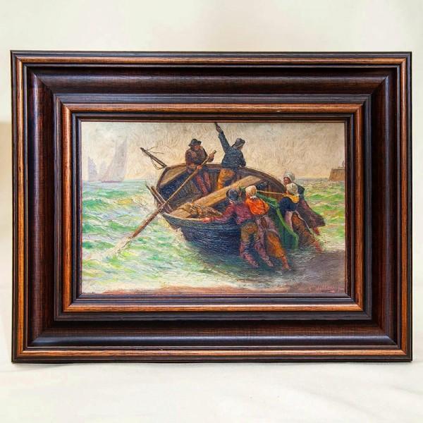 Художественная Картина Пейзаж «Рыбацкая Лодка». германия, середина ХХ века.
