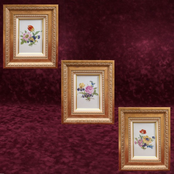 Коллекционный Набор из Трех Фарфоровых Плакеток - Картин - Панно «Летние Цветы», Lindner Германия.