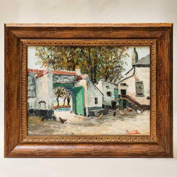 Картина «Пейзаж - На Дворе». Maх De Teige, Бельгия, вторая половина ХХ века.