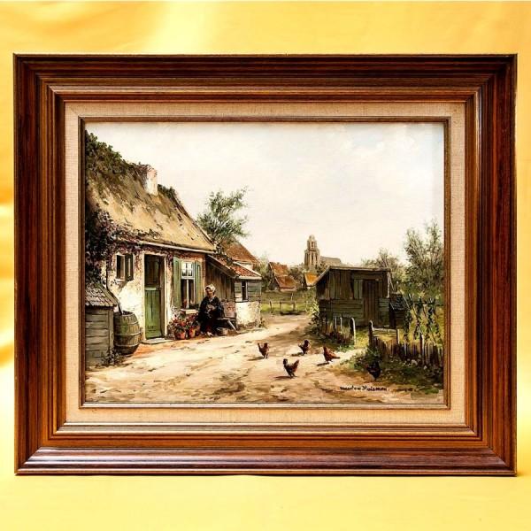 Картина - Пейзаж «Сельский Двор» Холст, Масло. Голландия