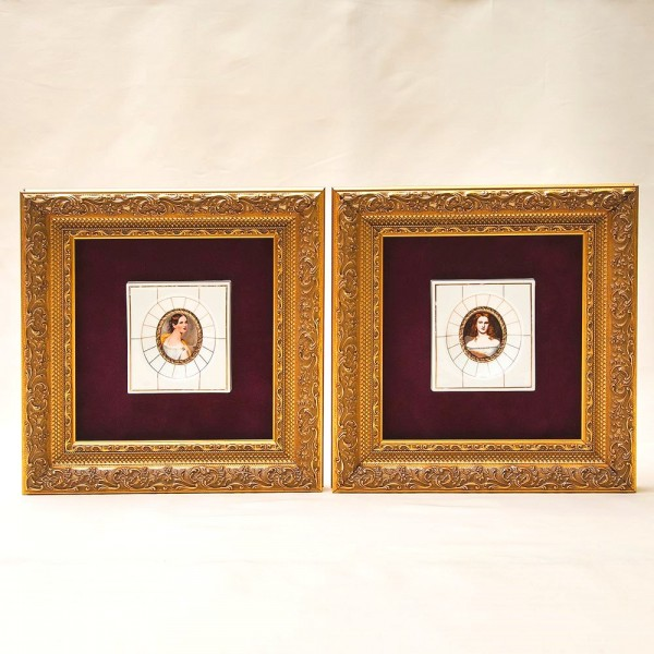 «Галерея Красавиц» - Пара Фарфоровых Плакеток - Панно - Картин, HEINRICH Villeroy&Boch Германия.