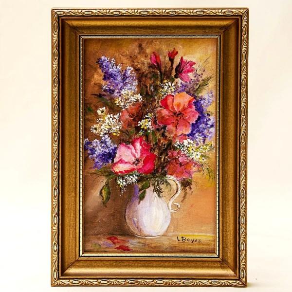 Картина - Натюрморт «Цветы - Летний букет в кувшине» Холст, Масло. Leon Boyer, Франция - 1987 год.
