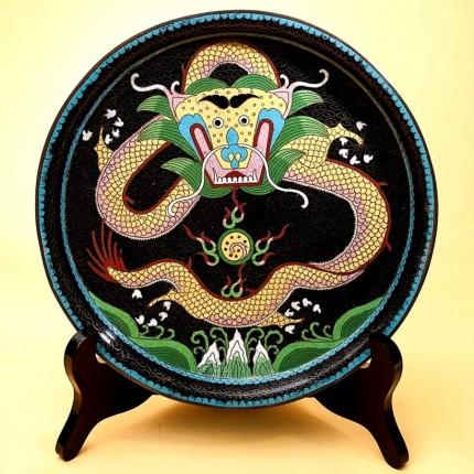 Большое Блюдо - Тарелка - Поднос «Дракон» Техника «Клуазоне» Китай 50 -е годы ХХ века.